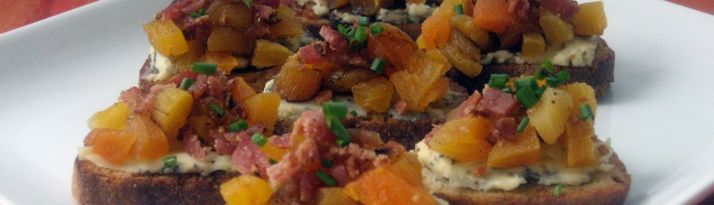 Apricot, Bacon, and Blue Cheese Toasts 1