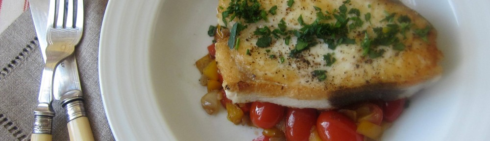 Halibut on a Bed of Piperade 1