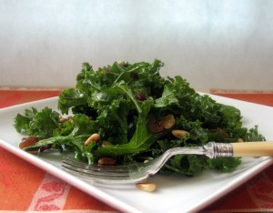 Farmers' Market Kale Salad with Raisins and Pine Nuts 1
