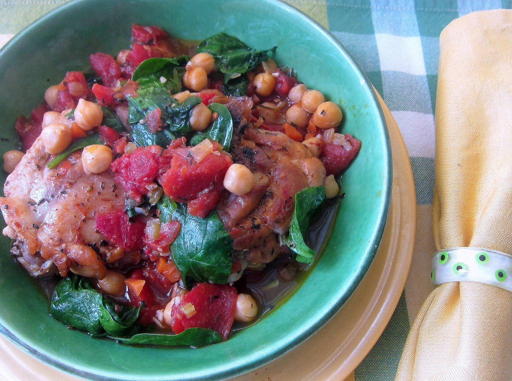 Chicken with Tomatoes, Chickpeas, and Spinach 2