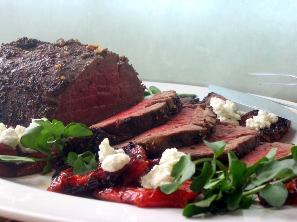 Beef Tenderloin with Roasted Tomatoes,  Goat Cheese, and Watercress 3