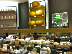 One of several cheese counters in the Fromagerie