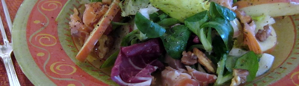 Winter Greens Salad with Apples, Smoked Trout, and Walnuts 1