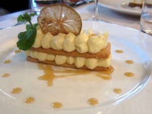 le Pario Lemon millefeuille with honey and ginger sauce