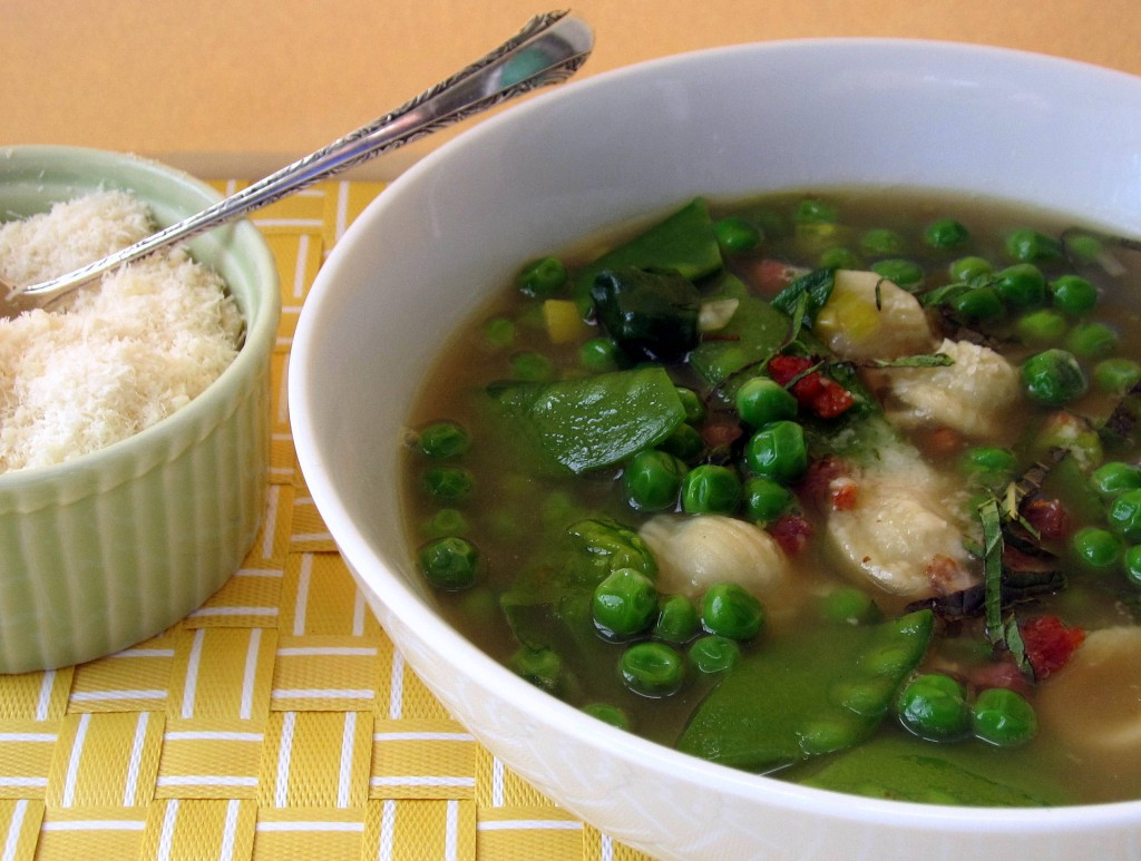 Brodo with Spring Peas, Pancetta, and Mint