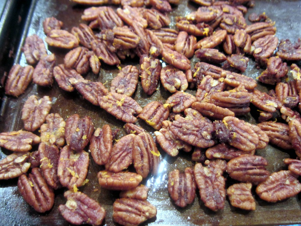 Orange Spiced Pecans on the baking sheet