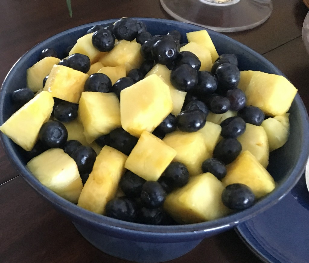 Fresh pineapple and blueberries
