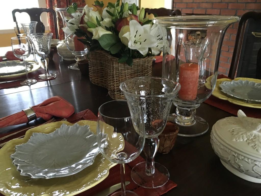 Table setting for spring dinner