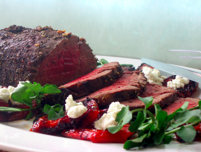 Roast Beef Tenderloin with Roasted Tomatoes and Goat Cheese