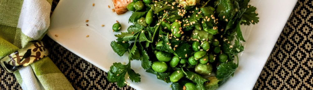 Edamame, Pea, and Avocados in Spicy Sesame Dressing