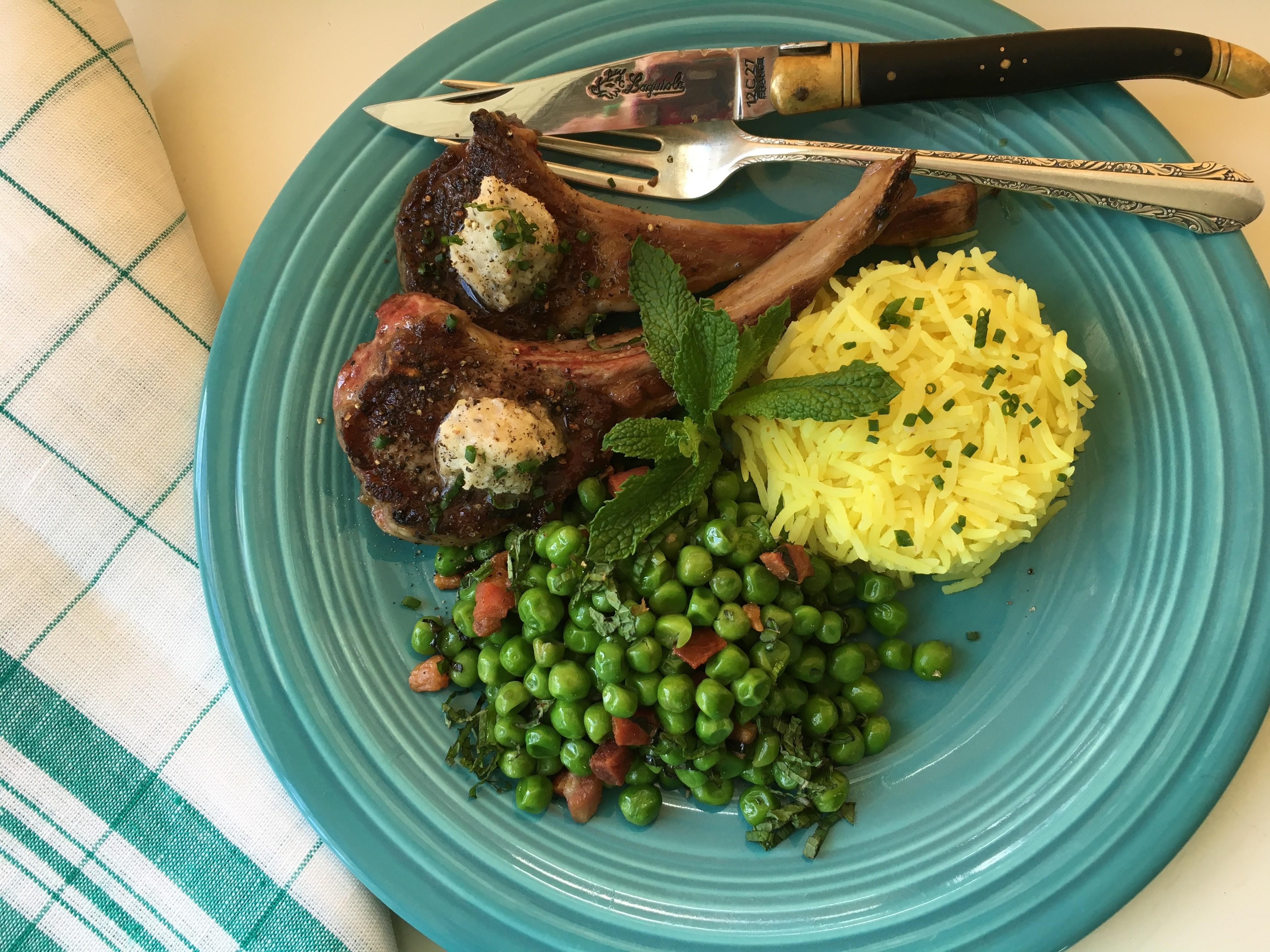 Perfect Lamb Chops With Black Pepper:Pecorino Butter