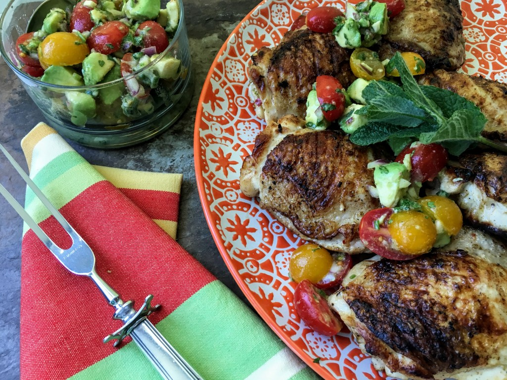 Grilled Chicken Thighs with Tomato Avocado Salsa