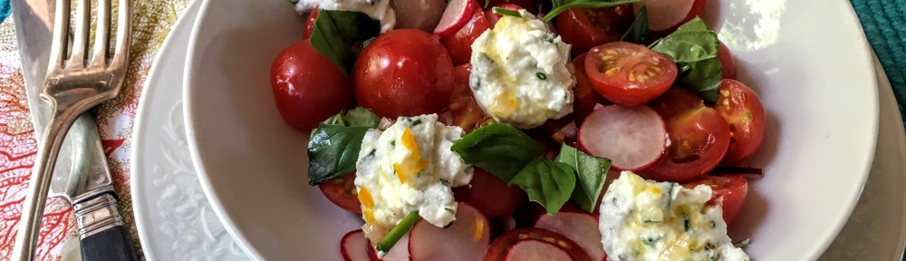 Tomato and Radish Salad with Whipped Chevre