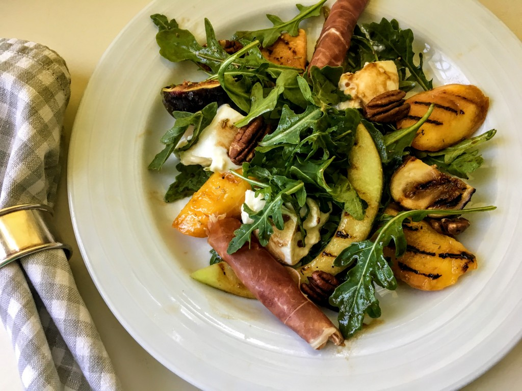 Grilled Peach and Fig Salad with Arugula, Burrat, and Prosciutto